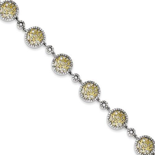 Icecarats Créatrice De Bijoux En Argent Sterling Vermeil Défiler Cz Bracelet Des Cercles Dans 7 Pouces