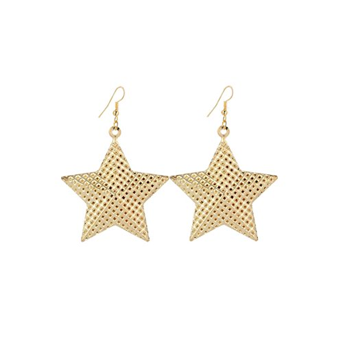 IDB Delicate Dangle Five-pointed Star Drop Hook Earrings - available in silver and gold tones (Gold tone) Dangling Star Earrings