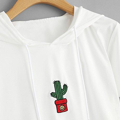 Cime Sciolto Estate Casual Giacca Blusa Bianco Maglione T Manica Elegante Tops Shirt Cactus Camicetta Top Cappello Crop Donna Weant Ricamo Tops Corta Donne Maglietta Faccina Camicie 1qawHBS