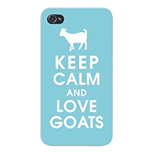 Apple Iphone Custom Case 5 5s Snap on - Keep Calm and Love Goats White Silhouette by supermalls