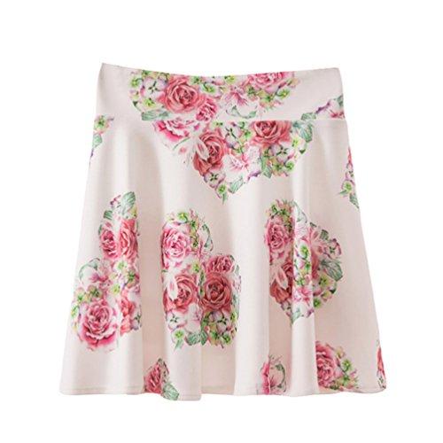 Impression Fleurs t Plisse Comme Taille Image Courte Jupe Yuanu Femme Confortable Doux Trapze Jupe Haute zq8xZwU