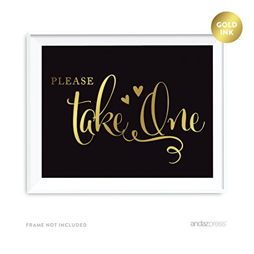 Andaz Press Wedding Party Signs, Black and Metallic Gold Ink, 8.5x11-inch, Please Take One, 1-Pack