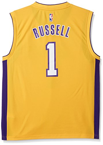 Los Angeles Lakers Home Jersey (NBA Los Angeles Lakers D'Angelo Russell #1 Men's Replica Home Jersey, Large, Yellow)