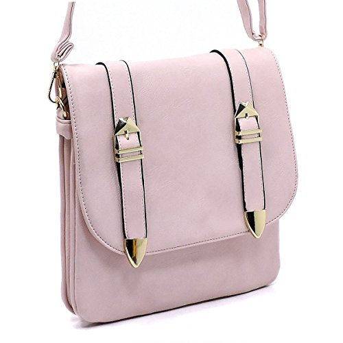 bags detail medium body leather Faux three cross buckle flap Blush with compartments YaTnYUzx