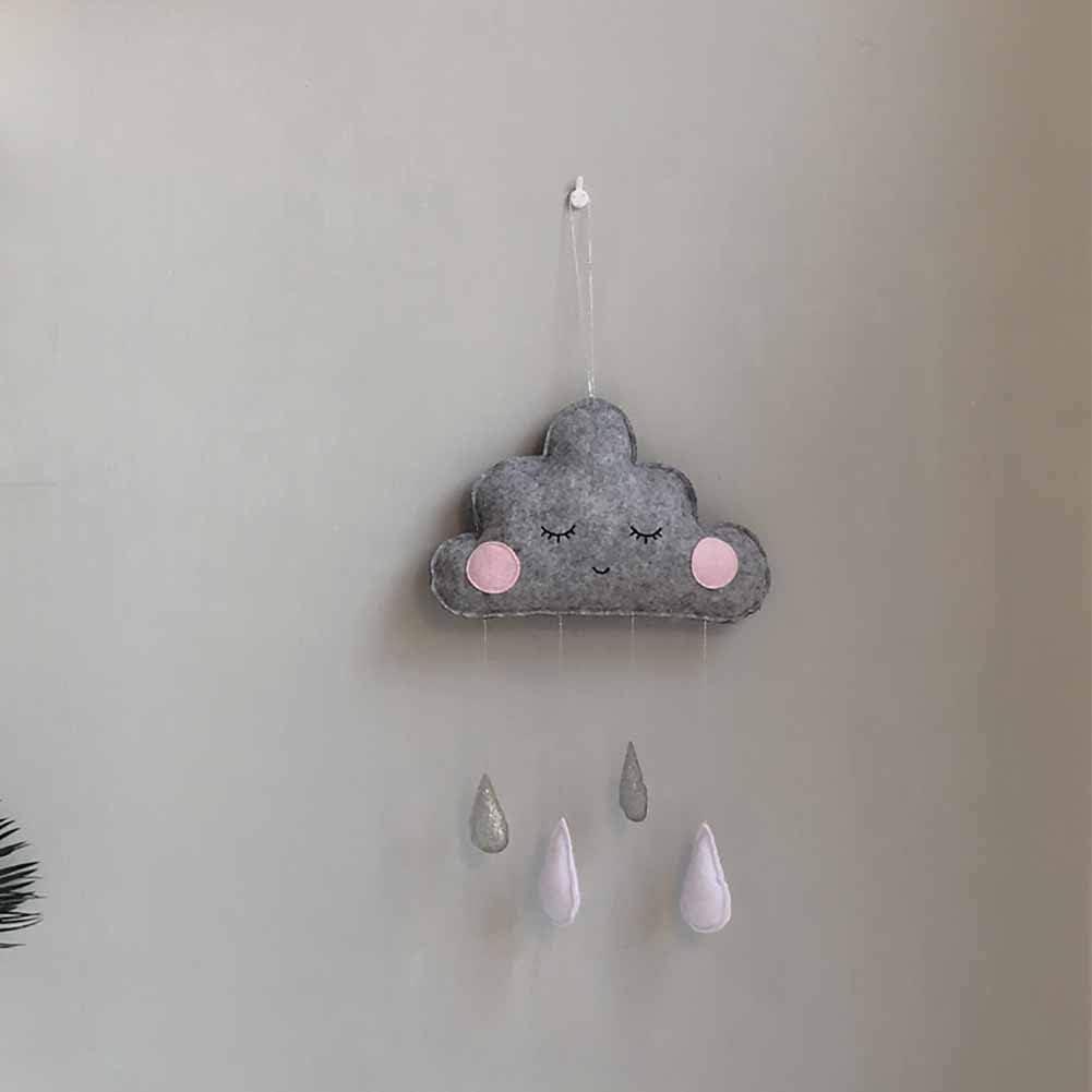 Atoking Cloud Raindrop Hanging Pendants Tent Cribs Beds Ceiling Garland Nursery Bedroom Wall Window Decoration for Baby Kids
