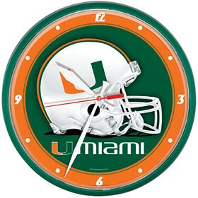 NCAA University of Miami (Florida) Round Wall Clock, 12.75