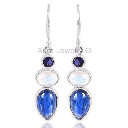 - 925 Sterling Silver Earrings for Womens, Drop & Dangle Earrings, Iolite, Kyanite, Rainbow Moonstone Earrings Sterling Silver for Womens, Gift for Womens, Mom, Bridesmaid Gift, Handmade Jewelry