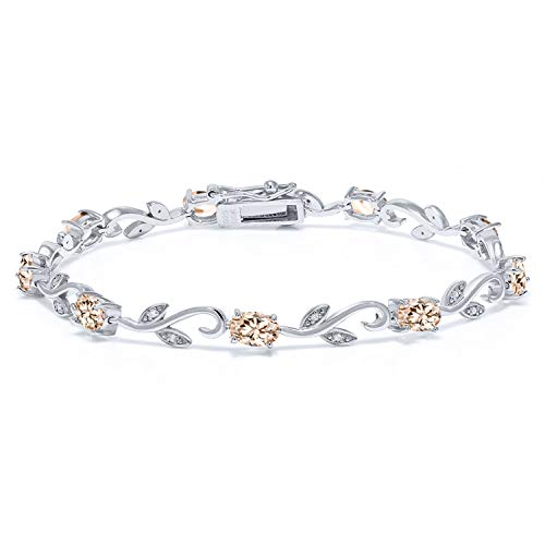Gem Stone King 925 Sterling Silver 4.09 Ct Oval Peach Morganite Diamond Greek Vine 7 Inch Bracelet