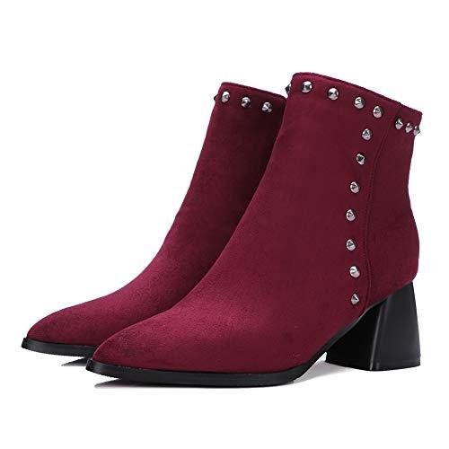Bloc Clouté De Daim Bottes Style Extensible Bigtree Pointu rouge Chaussette 47 Mode Bout 32 Femmes Talons Classique Rouge Bottines Noir Neige 8wqAv6