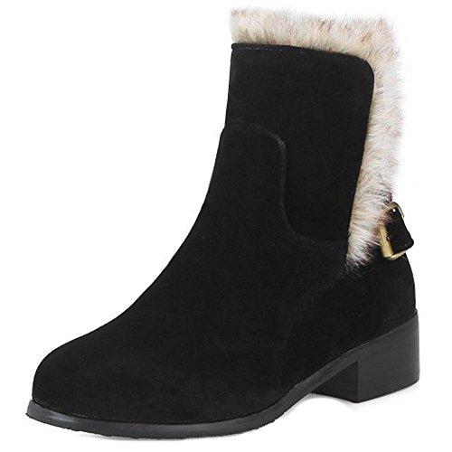 RAZAMAZA Women Winter Warm Shoes Snow Ankle Boots Buckle Strap Black