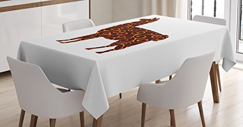 (Ambesonne Llama Tablecloth, South American Domestic Animal Silhouette with Swirled Lines Abstract Alpaca Design, Dining Room Kitchen Rectangular Table Cover, 52