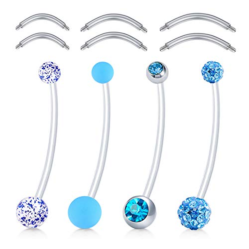 Barbell Style Belly Ring - MODRSA 4pcs Mix Style 38mm Pregnancy Sport Maternity Flexible Bioplast Belly Navel Button Ring Retainer w 6mm 8mm 10mm Stainless Steel Short Belly Bar