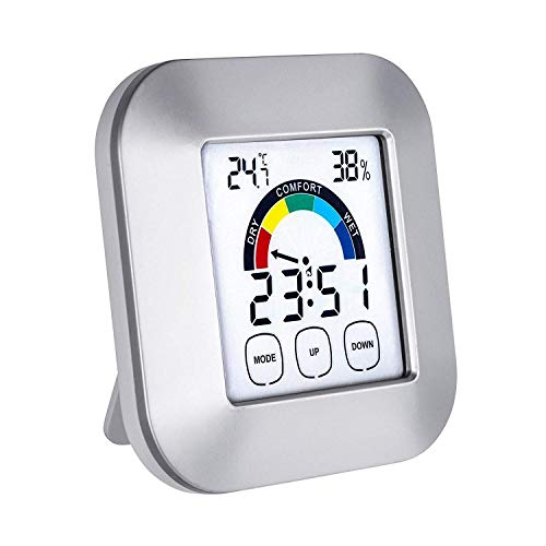 WeHome Digital Hygrometer Thermometer,Humidity Gauges Touch Screen Wireless Monitor Temperature Gauge Indicator Time Display Built-in Clock ()