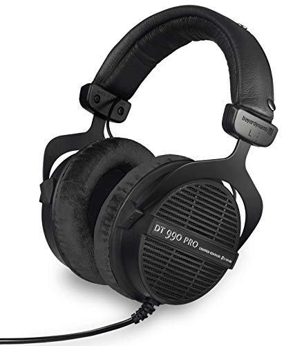 beyerdynamic Dt 990 Pro Over-Ear Studio Monitor Headphones – Open-Back Stereo Construction, Wired (80 Ohm, Black (Limited Edition))