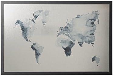 Bi-Office - Pizarra Mapamundi Ink, Magnético Acabado Plateado, Borrado en Seco, Marco MDF Negro, 90x60cm: Amazon.es: Oficina y papelería