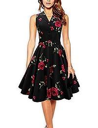 iLover Women Vintage Floral Rockabilly Swing Dresses with Belt