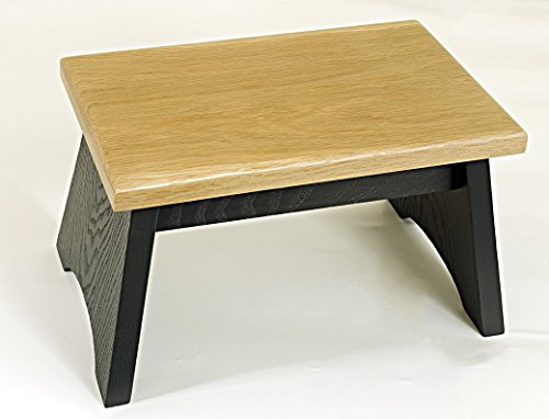 Oak step stool. Charcoal grey base with natural white oak top. Wooden step stool 8 inches high, 8 x 13 inches