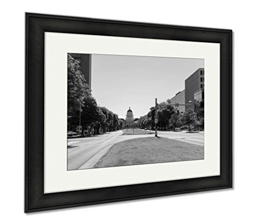 Ashley Framed Prints California State Capitol Building In Sacramento, Office/Home/Kitchen Decor, Black/White, 30x35 (frame size), Black Frame, - Sacramento Mall Downtown