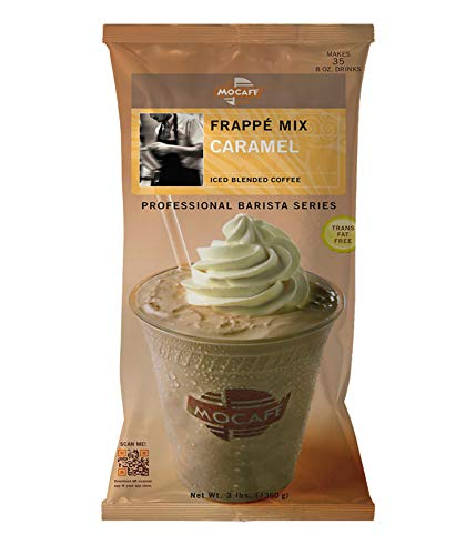(MOCAFE Frappe Caramel Ice Blended Coffee, 3-Pound Bag Instant Frappe Mix, Coffee House Style Blended Drink Used in Coffee Shops)