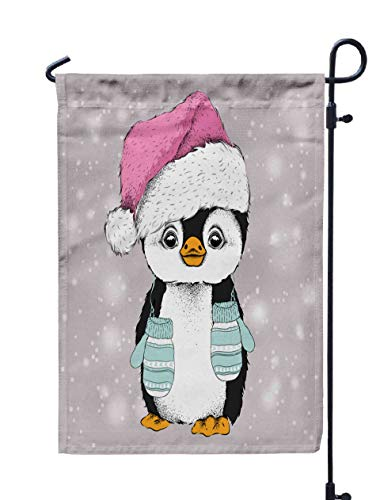 HerysTa Spring Garden Flag, Decorative Yard Farmhouse Holiday Banner 12 x 18 inches Penguin in Santa Hat The Gloves Double-Sided Seasonal Garden Flags