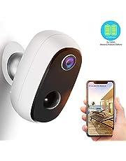 Akku Überwachungskamera, 1080P Kabellos Outdoor WLAN IP Kamera mit PIR-Bewegungserkennung, 2-Wege-Audio, Nachtsicht, integrierter SD-Steckplatz, IP65 wasserdichte