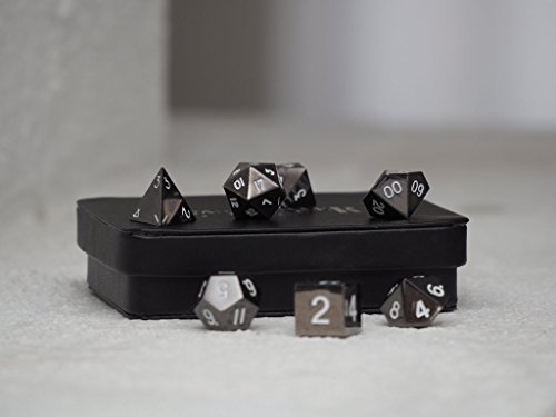 White Gun Metal Polyhedral Dice Set | 7 Piece | Professional Edition | FREE Display Case | Hand Checked Quality Control