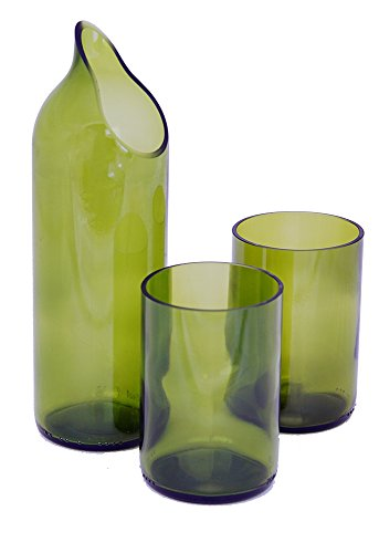 Green Wine Bottle Glasses + Carafe by WoodenShoe Designs - | Made from Recycled Wine Bottles in Tampa, Florida (Recycled Glass Carafe)