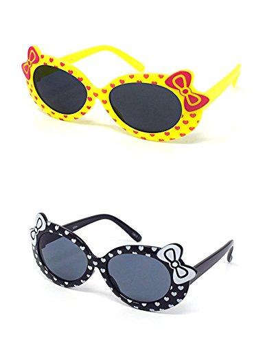 1 x Yellow 1 x Black Coloured Childrens Kids Girls Stylish Cute Designer Style Sunglasses with a Bow and heart Style UV400 Sunglasses Shades UVA UVB - Eyelevel Uk Sunglasses