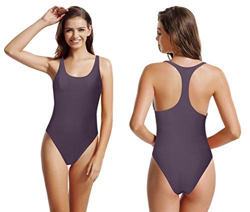zeraca Women's Thick Straps Pro Athletic Racerback One Piece Swimsuit Bathing Suit (Rich Grape, - Swimwear Training Sale