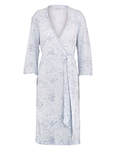 Slenderella HC7113 Women\'s Blue Floral Cotton Dressing Gown Robe ...