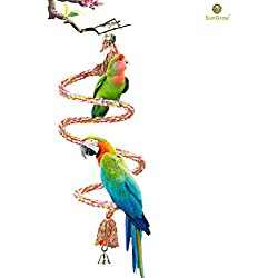 "59"" Rope Perch for Parrots - Brightly Colored Handmade Eco-Friendly Chew Toy for Birds - Ideal for Relaxing or Working on Balance and Agility"