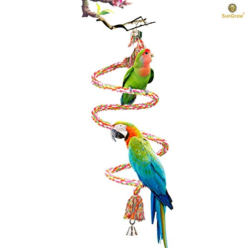 "41l5HUpNrkL - SunGrow 59"" Rope Perch for Parrots - Brightly Colored Handmade Eco-Friendly Chew Toy for Birds - Ideal for Relaxing or Working on Balance and Agility"