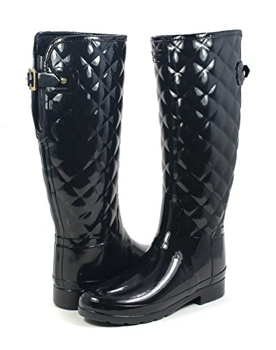 - Hunters Boots Women's Refined Quilted Tall Boots, Black, 9 B(M) US