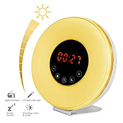 Congerate Upgrade Version Wake Up Light Alarm Clock Colorful Sunrise Simulation Night Light Atmosphere Lamp FM Radio Nature Sounds With Touch Control