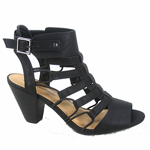 Delicious Awesome-s Women's Fashion Open Toe Strappy Gladiator Heel Low Wedge Sandal Shoes (9 B(M) US, Black)