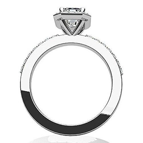 Or blanc 14K magique Coupe Émeraude Diamant Bague de fiançailles