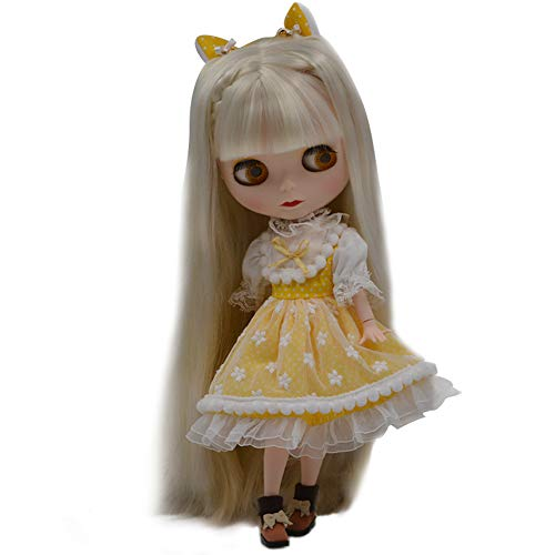 lar to Neo Blythe, 4-Color Changing Eyes Matte Face and Ball Jointed Body Dolls, 12 Inch Customized Dolls Can Changed Makeup and Dress DIY, Nude Doll Sold Exclude Clothes (White) ()