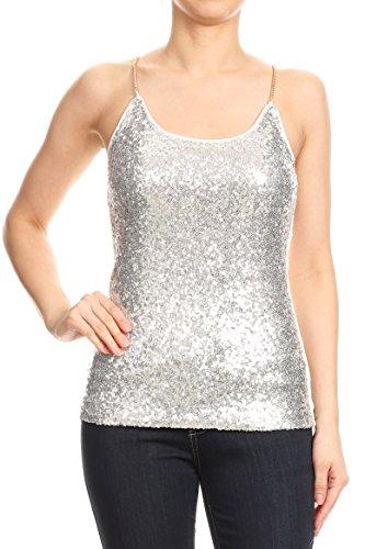 - Anna-Kaci Womens Spaghetti Strap Sequin Metal Chain Shiny Party Club Camisole Tank Top