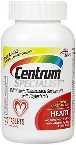 Centrum Specialist Heart 120 Count Complete Multivitamin Multimineral Supplement with Phytosterols Tablet, Vitamin D3 and Vitamin B
