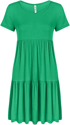 Simlu Womens Kelly Green Dress Babydoll Dress Green Casual Reg and Plus Size Dress, XX-Large (Top Baby Tiered Doll)