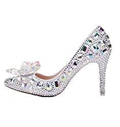 Women Crystal Rhinestone Sequins Glass High Heels