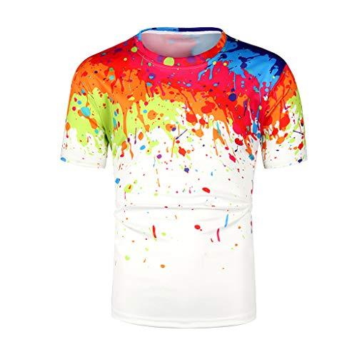 Mens 3D Digital Printed Graphic Summer Casual Short Sleeve Crewneck T Shirts Tee Shirt Tops (M, Multicolor)