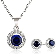 Sterling Silver Created Earrings and Pendant Necklace Jewelry Set