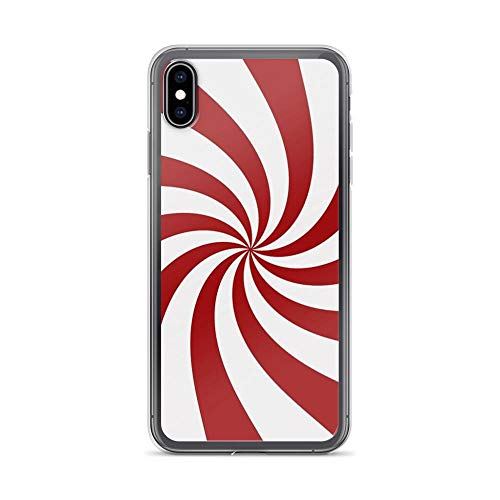 iPhone Xs Max Pure Clear Case Cases Cover Red and White Peppermint Swirl