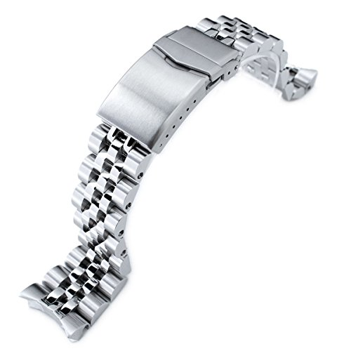 - 22mm Angus Jubilee 316L SS Watch Bracelet for Seiko SKX007, Brushed/Polished, V-Clasp