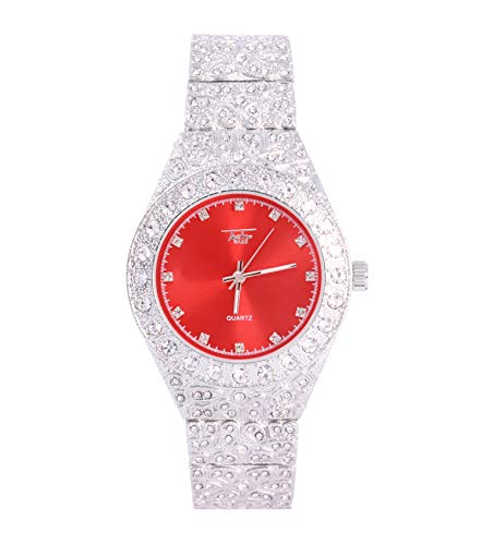 Men's Iced Out Silver Watch with Simulated Diamonds and Nugget Style Hip Hop Band - Silver/Red