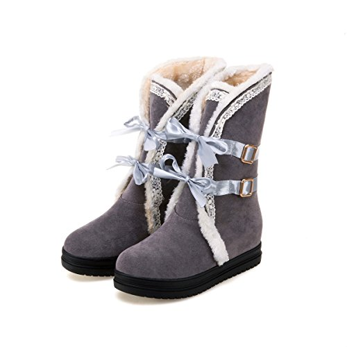 Shine Show Casual Platform Snow Grey Bows Women's Boots vCqTxC1