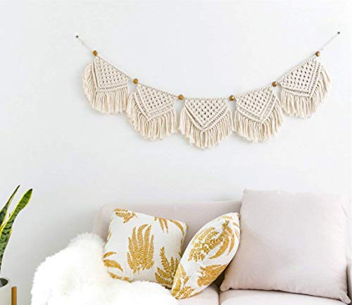 - Macrame Woven Wall Hanging Fringe Garland Banner Bohemian Wall Decor Woven Home Decoration for Apartment Bedroom Living Room Gallery Baby Nursery, 7