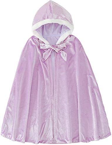 Girls Princess Elsa Velvet Hooded Long Cape Cloak Costumes Dress Up Big Cape