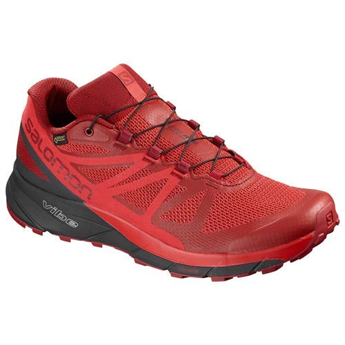 ویکالا · خرید  اصل اورجینال · خرید از آمازون · Salomon Men's Sense Ride GTX Invisible FIT Trail Running Shoe, Red Dahlia/Phantom/High Risk Red, 11 wekala · ویکالا
